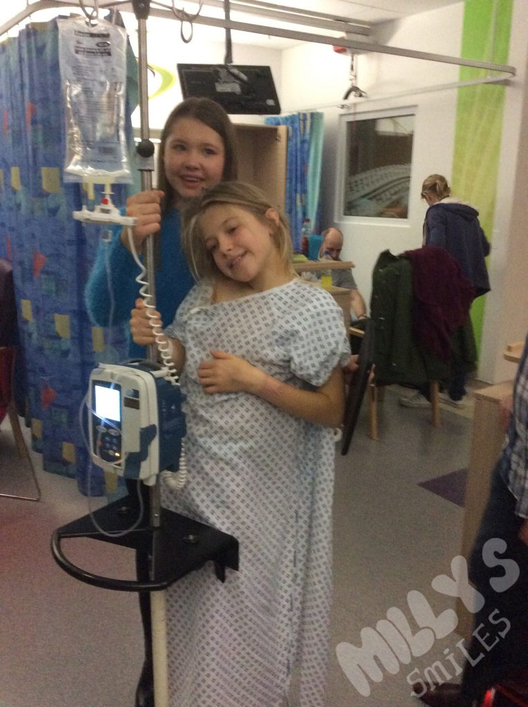 With her sister after operation to put in her Hickman line | Millys Smiles
