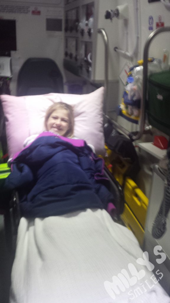 in the ambulance on route to royal Manchester childrens hospital | Millys Smiles